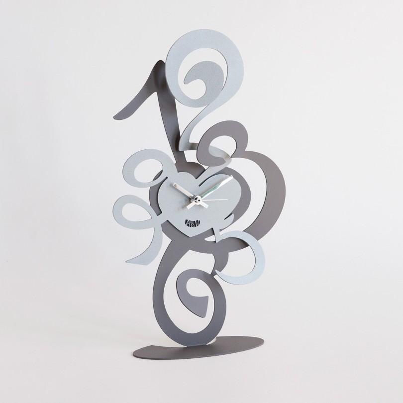 2821_C47 orologio truciolo da tavolo ardesia alluminio