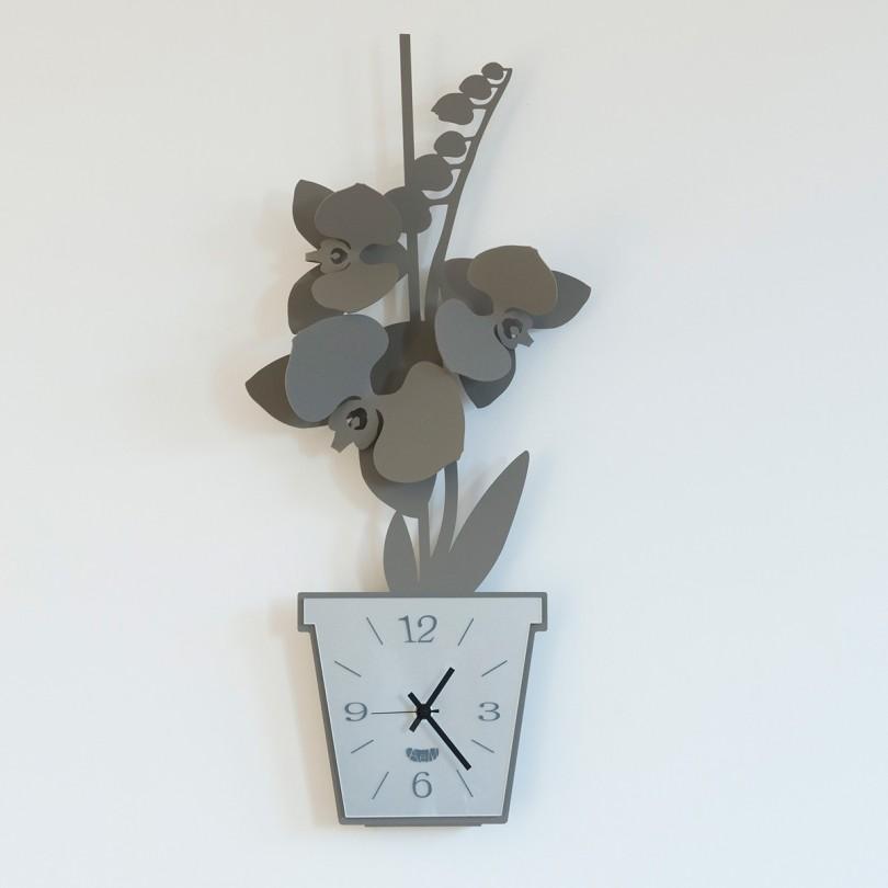 2857_C18 orologio orchidea da parete fango