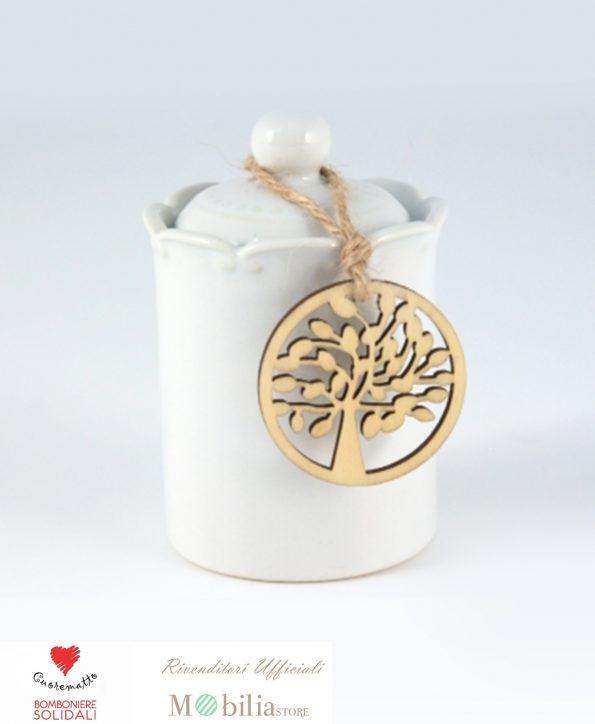 Bomboniere solidali barattoli ceramica bianca cuorematto set 6 pezzi