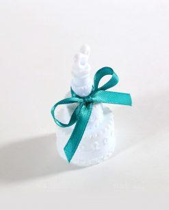 Bolle di sapone a forma di torta nuziale con nastro tiffany