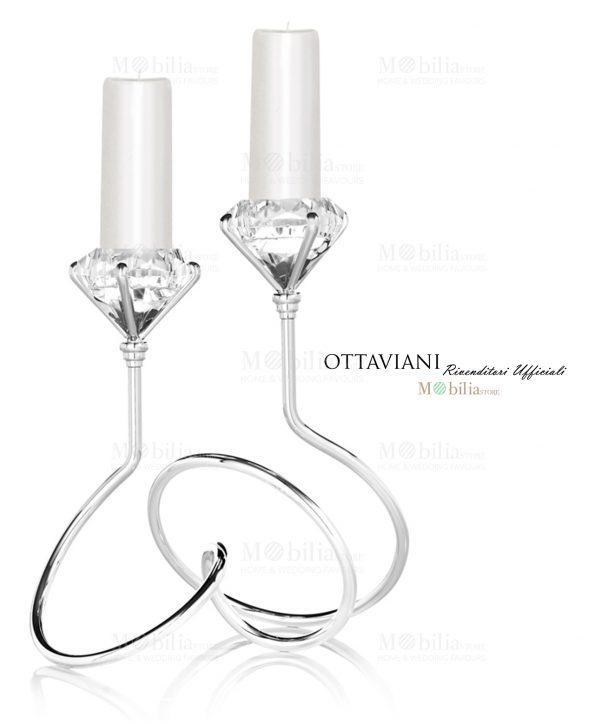 Candeliere Ottaviani cristallo due fiamme