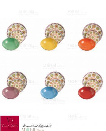 Piatti 18 pezzi colorati Hippy Villa d'Este