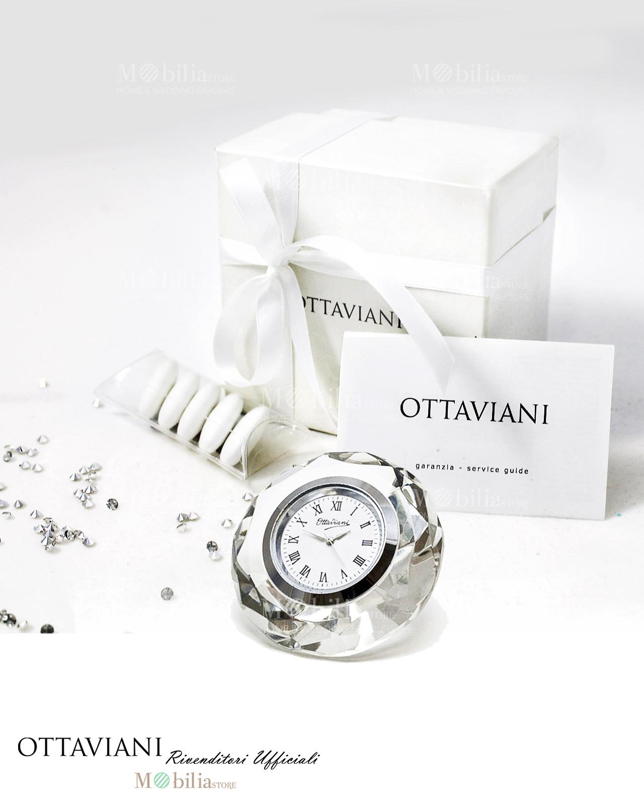 Orologio cristallo ottaviani bomboniere matrimonio mobilia store home favours - Ottaviani orologio da tavolo ...