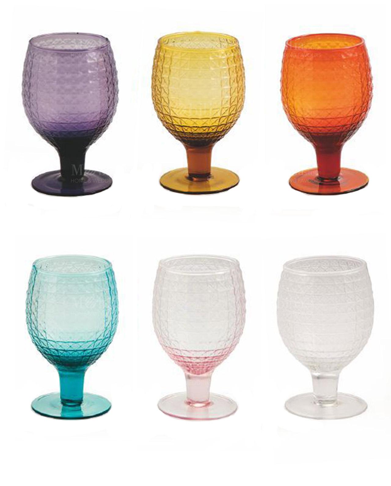 Calici vino vetro colorati karma villa d 39 este set 6 pz for Bicchieri colorati vetro