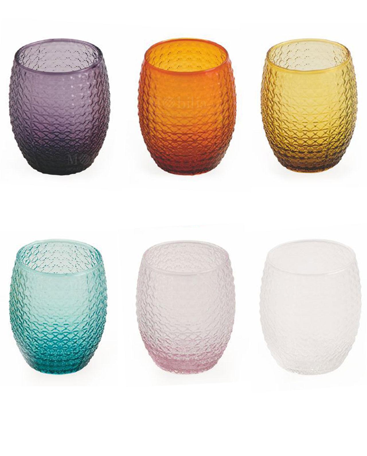 Bicchieri karma villa d 39 este 6 pezzi decorati in offertissima for Bicchieri colorati vetro
