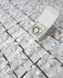 bomboniera orologio cristallo Ottaviani con scatola e nastro bianco