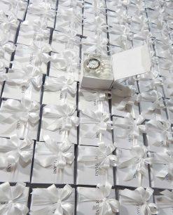 bomboniera orologio ottaviani con scatola e fiocchi bianchi