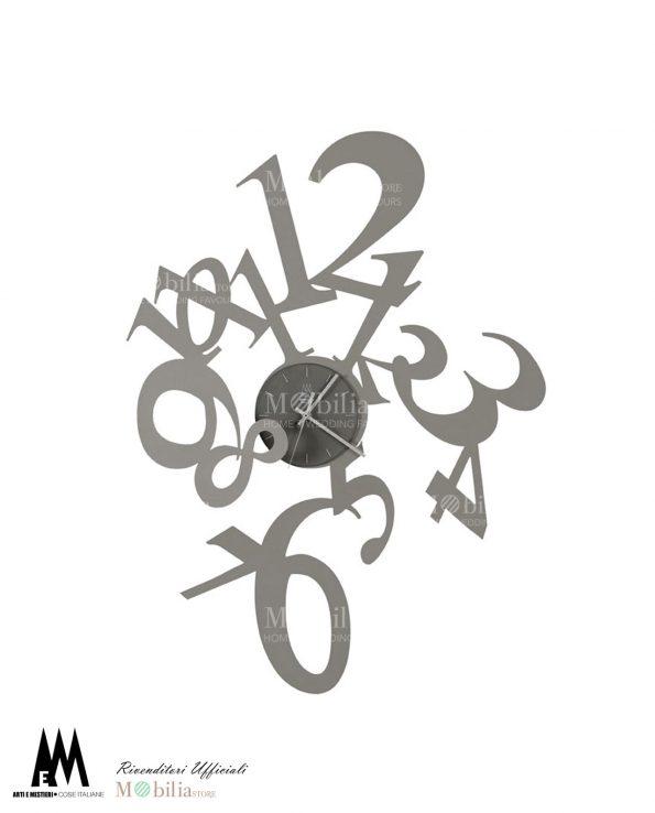 orologio da parete design astrid colore alluminio arti e mestieri