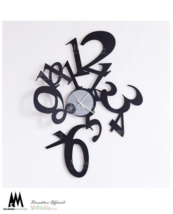 orologio da parete design astrid colore nero arti e mestieri