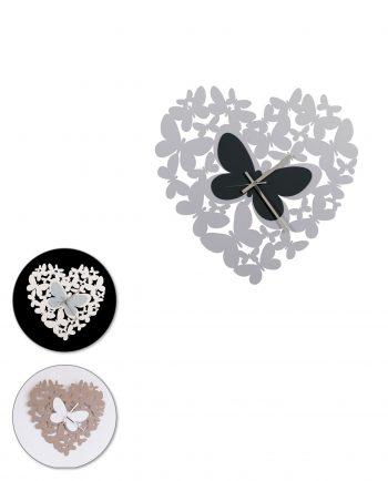 orologio da parete cuore butterfly tre colori arti e mestieri