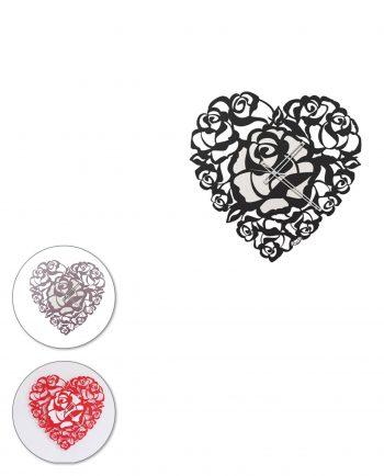 orologio da parete design cuore rose tre colori arti e mestieri