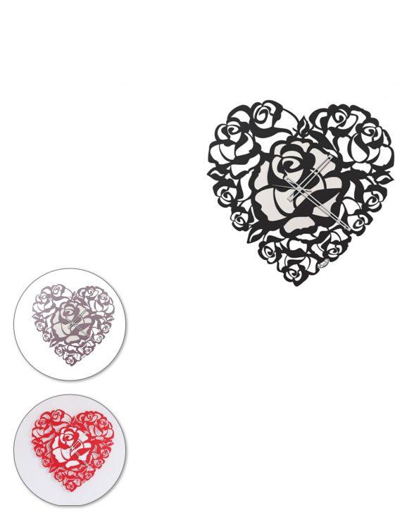 Orologio da parete design Cuore Rose Arti e mestieri