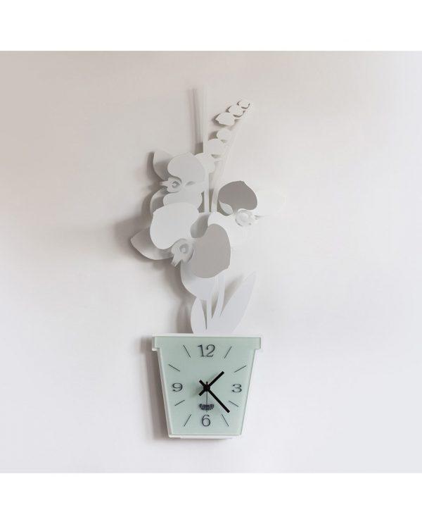 orologio da parete design orchidea bianco arti e mestieri