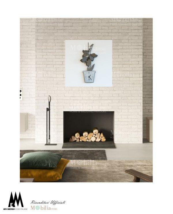 orologio da parete design orchidea ambientato arti e mestieri