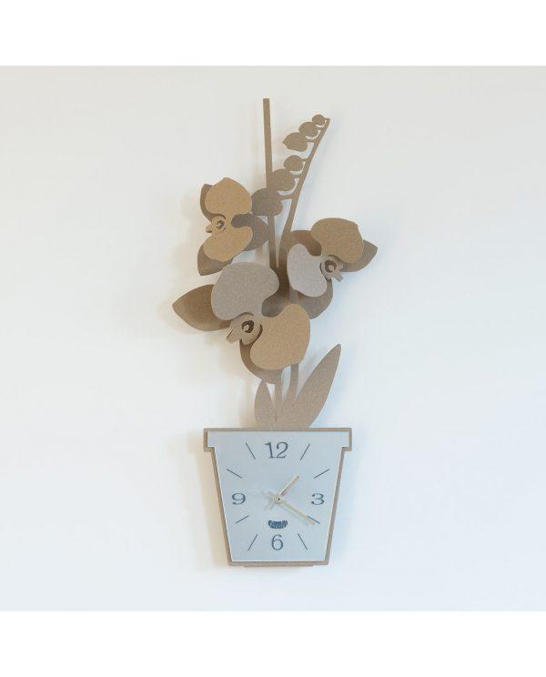 orologio da parete design orchidea colore fango arti e mestieri