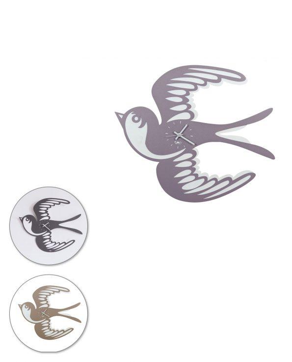 orologio da parete design rondine tatoo arti e mestieri tre colori
