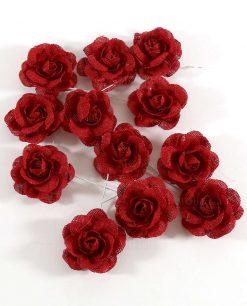 rose rosse in juta