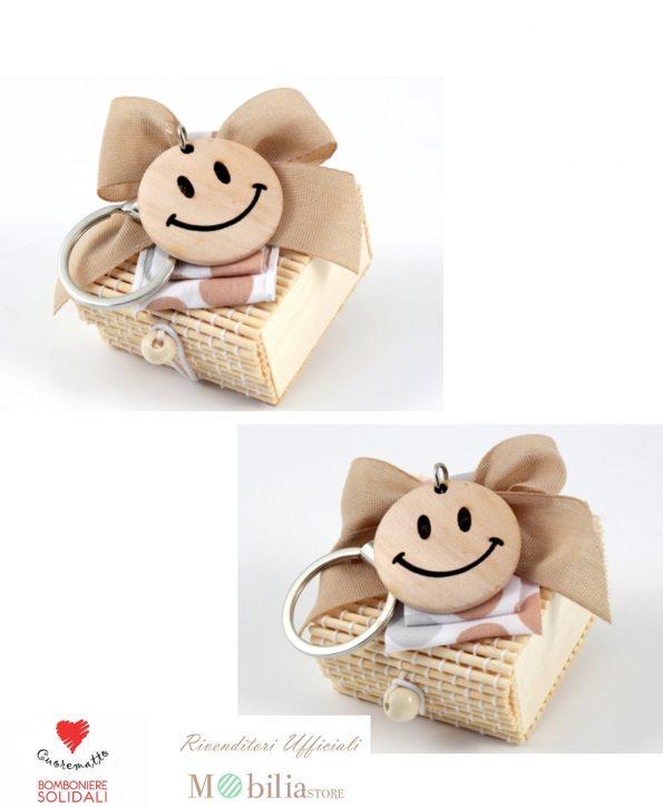 Portaconfetti scatolina Bomboniera in bamboo Cuorematto