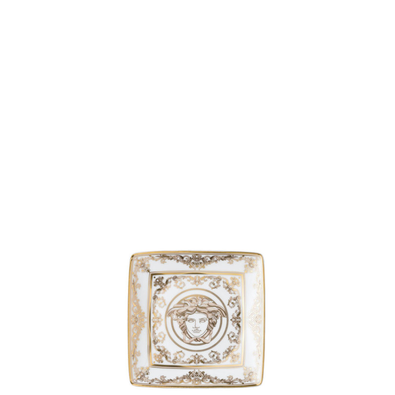 Coppetta quadra piana Versace Medusa Gala Oro e Bianco