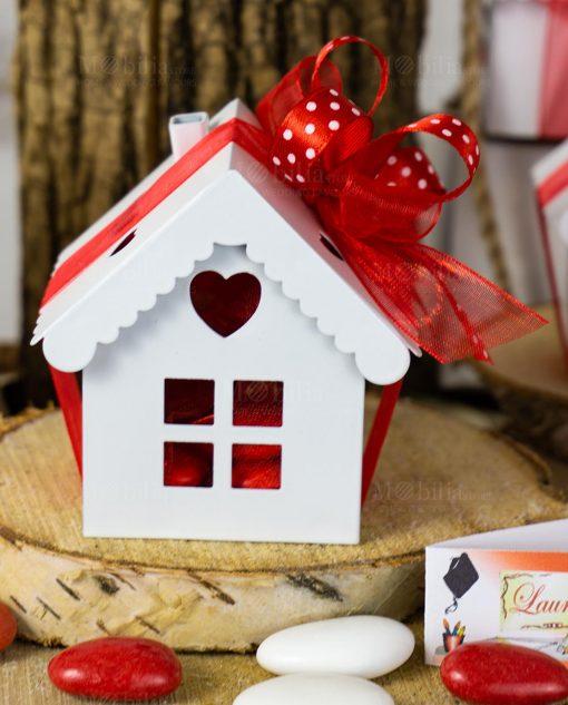 bomboniera casetta bianca metallo con cuoricino nastro rosso organza e raso rosso a pois bianchi