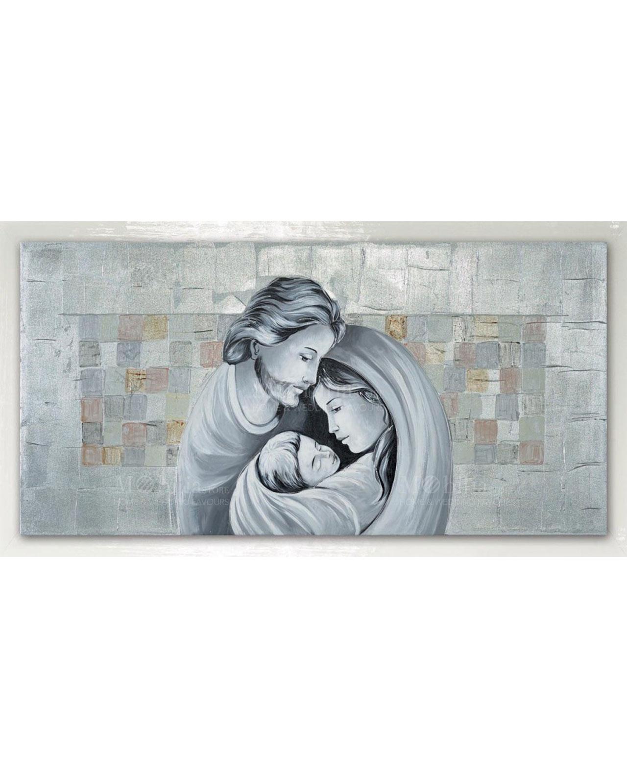 Capezzale sacra famiglia moderno in foglia argento for Sacra famiglia quadri moderni