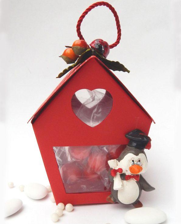 Pencil Coppa piccola rossa con Pinguino completa di confetti nuova collezione 2016 Bomboniera Sacchettino Laurea  Rdm Design