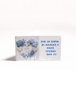 fiocco nascita con cuori e frase azzurro