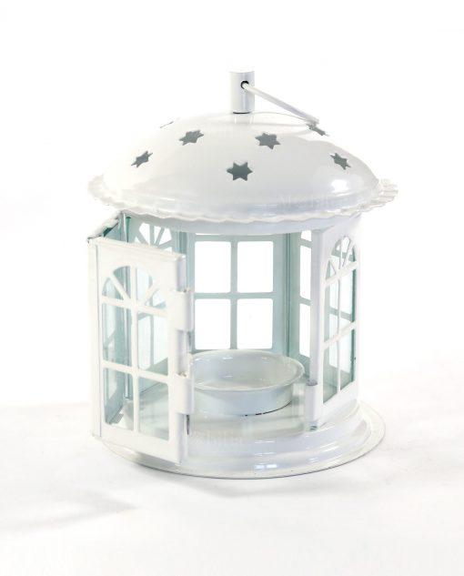 lanterna gabbietta in metallo e vetro