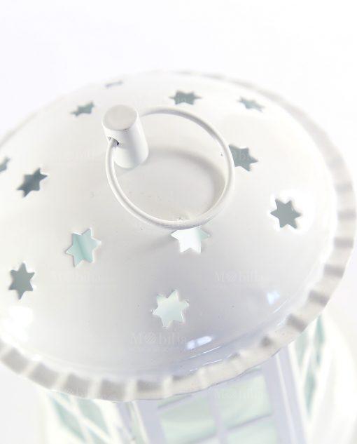 lanterna gabbietta in metallo e vetro con stelle