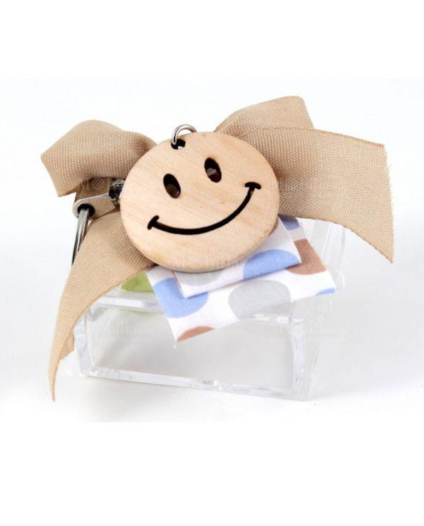 Scatola plexiglass bomboniera con portachiavi smile cuorematto