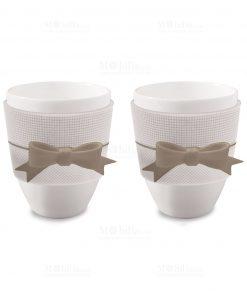tazzine da caffè in porcellana con fiocco
