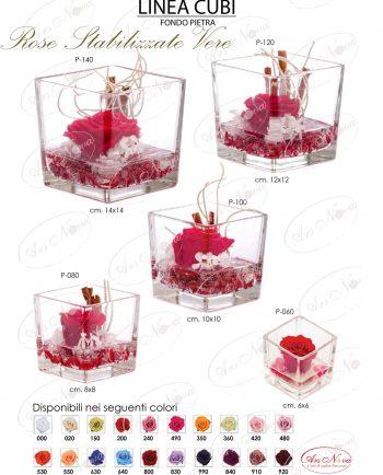 Cubo Vetro Con Rose Vere Stabilizzate