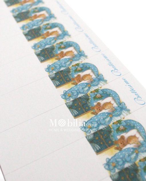 bigliettini cartoncino con bimbo culla e scritta battesimo azzurra