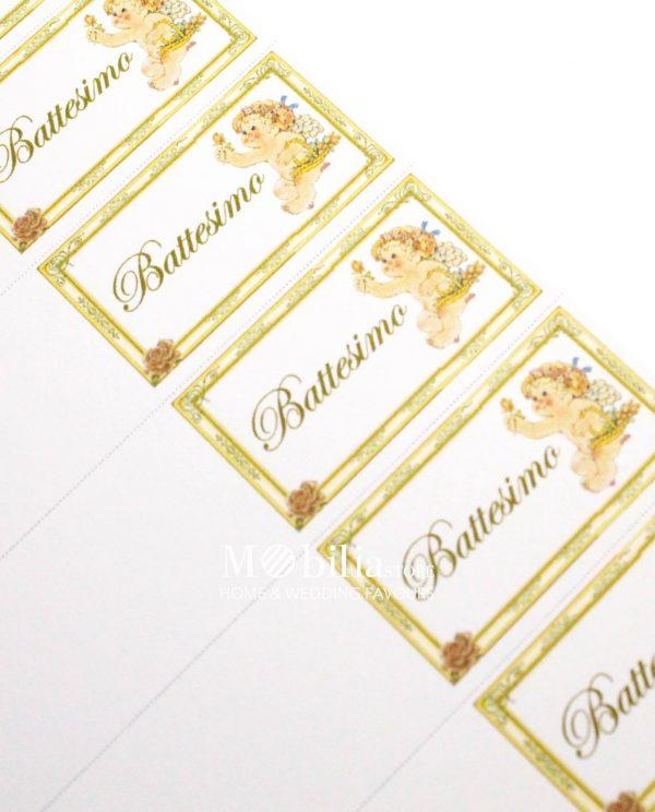 bigliettini con cornice bimbo con fiori e scritta battesimo oro