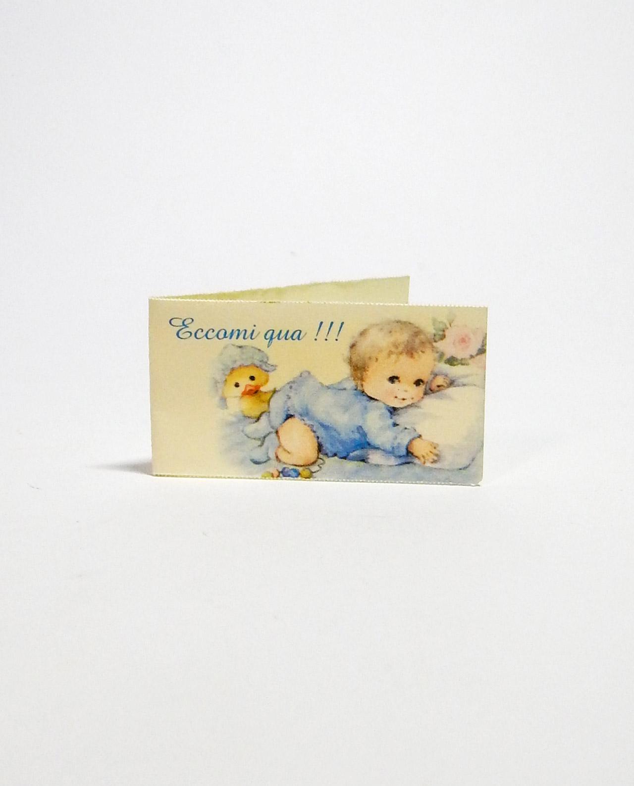 Bigliettini battesimo bambino bomboniera cartoncino bianco liscio scritta azzurra
