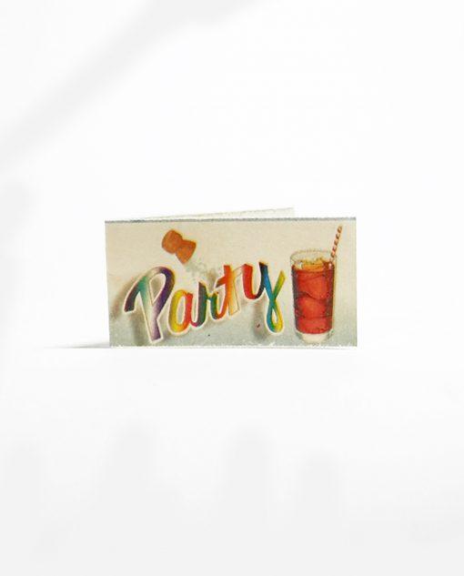bigliettino con bicchiere e tappo scritta party multicolore