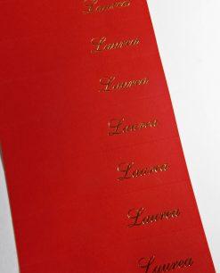 bigliettino fustellato rosso scritta laurea dorata