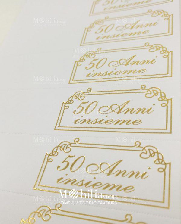 fustella bigliettini con cornice e scritta oro