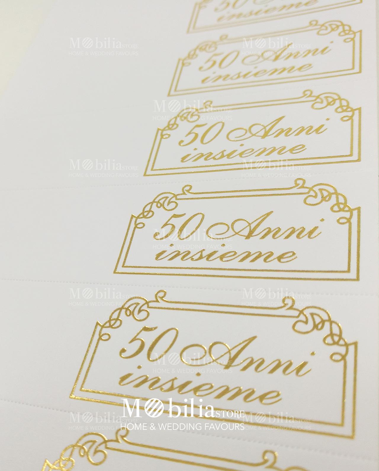 Conosciuto Bigliettini bomboniere 50 anni matrimonio set 10 pezzi - Mobilia  QE76