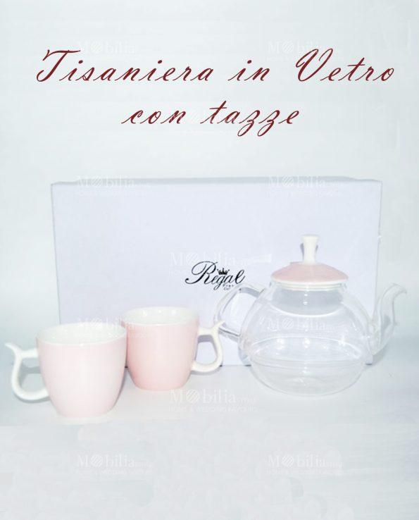 Teiera porcellana e vetro rosa con tazze
