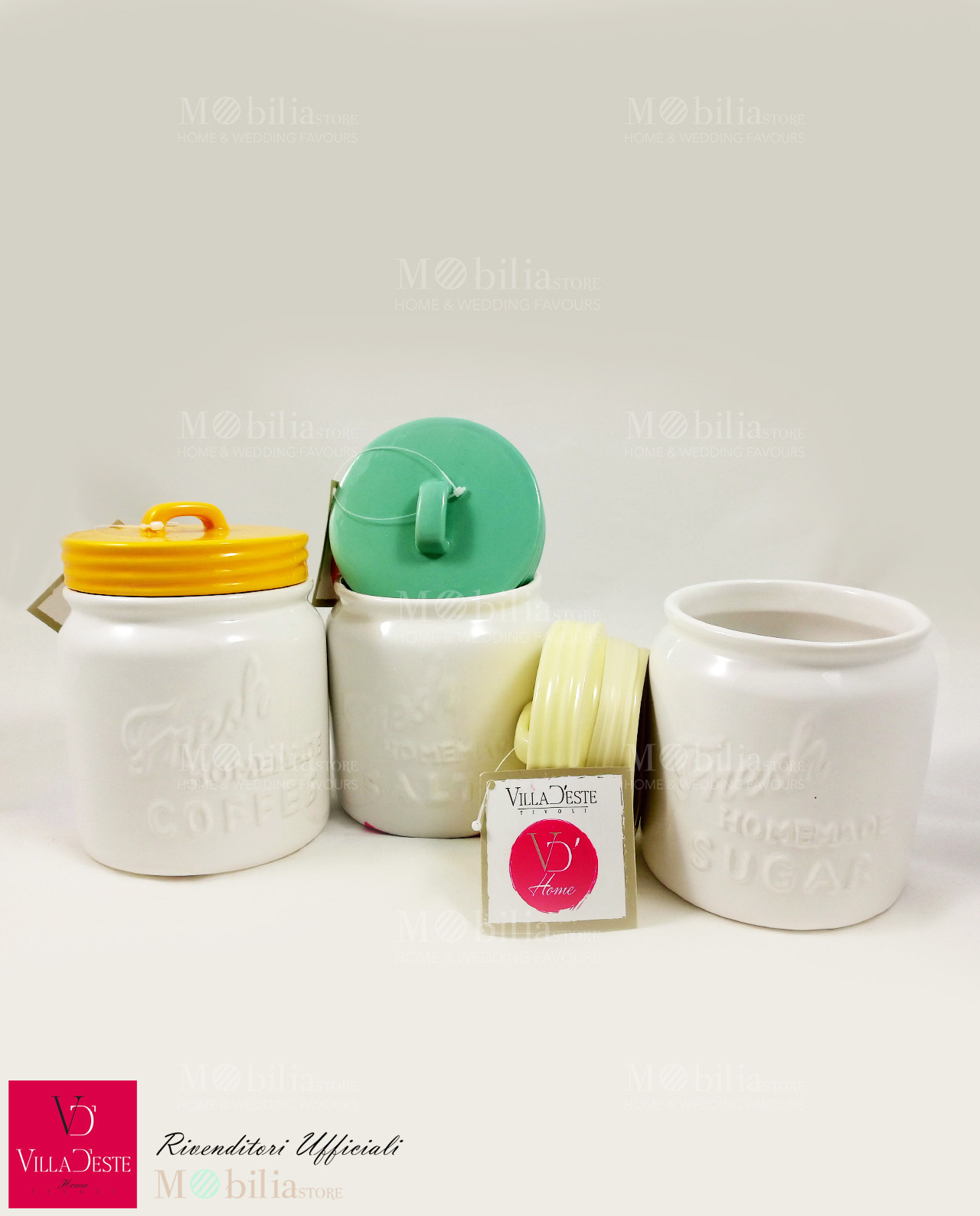 Olive set 3 barattoli colorati in ceramica mobilia store home favours - Barattoli cucina colorati ...