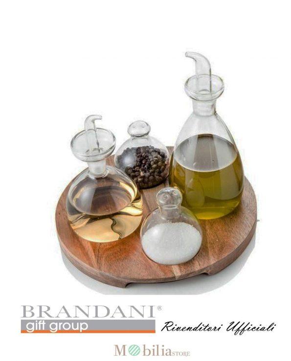 Menage legno vetro quattro pezzi Brandani