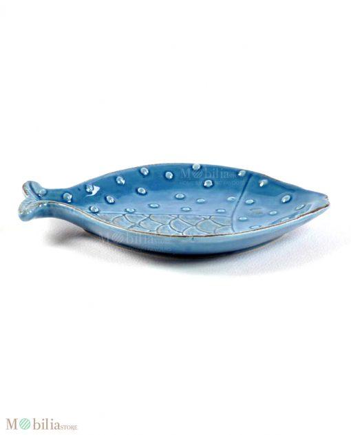 piatto pesce blu con decori a rilievo