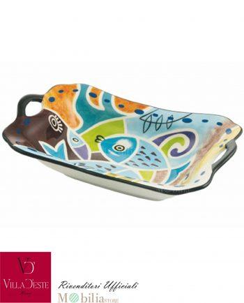 Vassoio con Manici Ceramica Pesci Colorati Panarea Villa d'Este