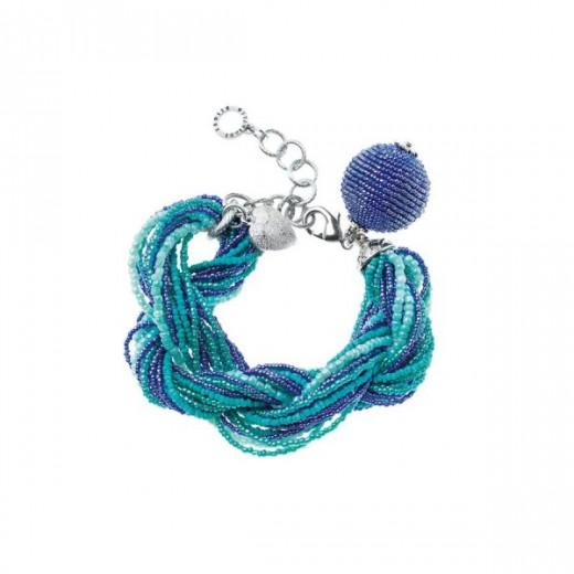 Bracciale torchon con perline e cristalli blu e turchese Ottaviani