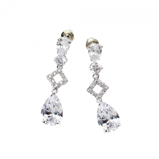 Orecchini pendenti rodiati con cristalli e strass Ottaviani