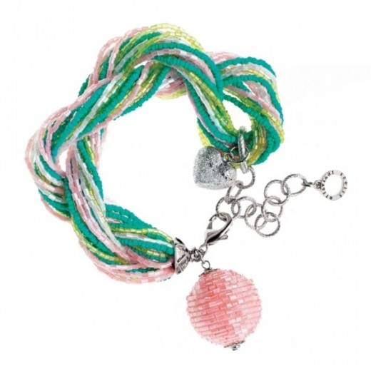 Bracciale torchon con perline e cristalli verdi rosa e turchesi Ottaviani