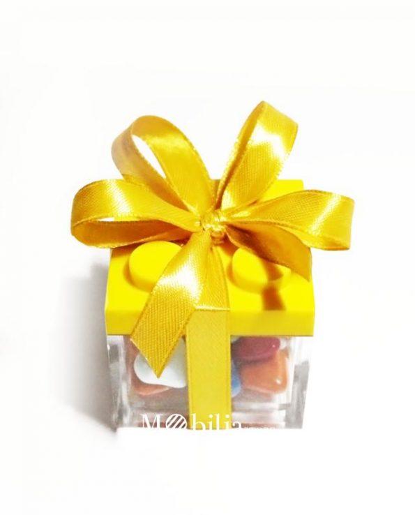 scatola lego gialla confezionata bomboniera