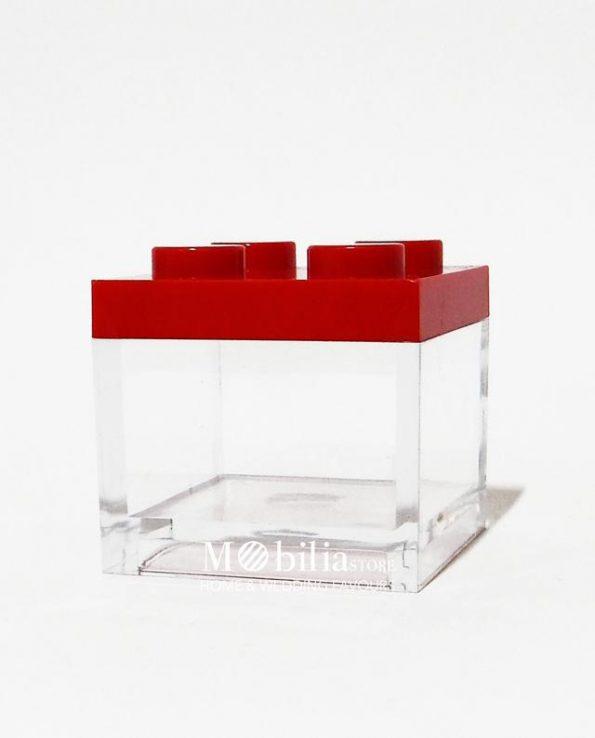 scatola lego rosso confezionata bomboniera