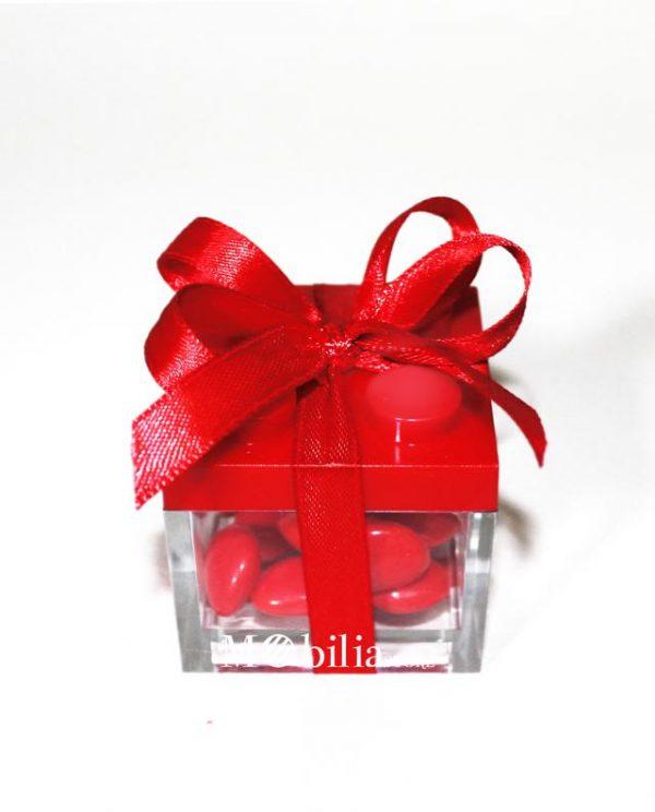 scatola lego rossa confezionata bomboniera